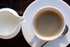 Cup of coffee and milk stock images