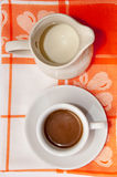A cup of coffee and milk Royalty Free Stock Photography