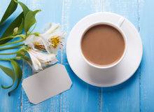 Cup of coffee with milk, blank paper in the envelope, pen and al Royalty Free Stock Photography