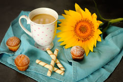 A cup of coffee with milk and muffins. A cup of tasty coffee with milk and tasty muffins. Composition on turquoise tablecloths. Sunflower as a decoration Royalty Free Stock Image
