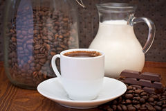 Cup of coffee, milk and chocolate Royalty Free Stock Photo