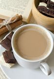 Cup of coffee with milk and chocolate Royalty Free Stock Photos