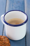 Cup of coffee with milk and cookies Stock Image