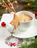 Cup of coffee with milk and cookies. Selective focus Stock Images