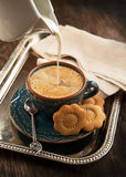 Cup of coffee with milk and cookies Royalty Free Stock Photography