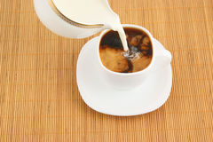 Cup of coffee and milk jug Stock Photography