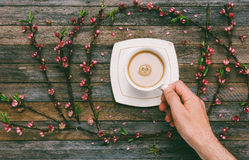 Cup with coffee milk in a male hand on a background of an old wooden table with peach branches with pink flowers royalty free stock photos