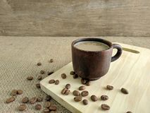 A cup of coffee milk in the morning. Use for background stock photos