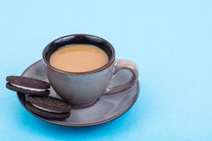 Cup of coffee with milk on pastel background Royalty Free Stock Image