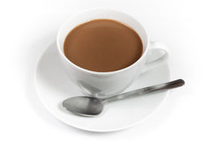 Cup of coffee with milk and spoon Royalty Free Stock Photography