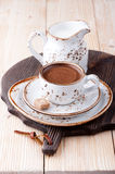 Cup of coffee with milk and sugar Stock Photos