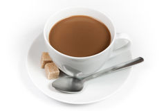 Cup of coffee with milk and sugar Royalty Free Stock Photos