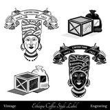 Cup and coffee mill under the ribbon template for text. black woman with turban best ethiopia coffee lettering Stock Images