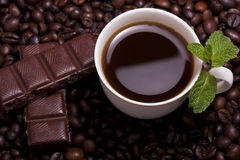 Cup of coffee with mint Stock Image