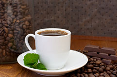 Cup of coffee, mint and chocolate Royalty Free Stock Photography