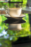 Cup of coffee on mirror glass table reflect green summer garden Royalty Free Stock Images