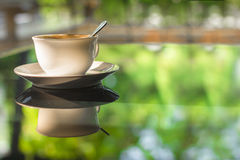 Cup of coffee on mirror glass table reflect green summer garden. Morning sunlight stock photos