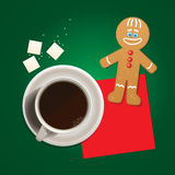 Cup of coffee and mister cookie. Stock Photography