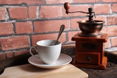 Coffee machines retro. A cup of coffee mixed with retro equipment Royalty Free Stock Photos