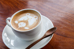 A cup of coffee mocha on wooden Stock Photography