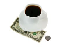 Cup of coffee and money isolated Stock Images
