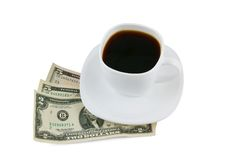 Cup of coffee and money isolated Royalty Free Stock Photo