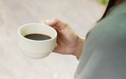 A cup of coffee in the morning stock photography