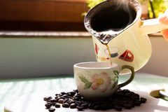 Cup of coffee. Morning cup of coffee,coffee beans Stock Photo