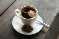 Cup of coffee, morning, breakfast. Exotic sort of coffee Stock Photography