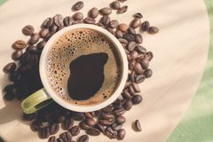 Cup of coffee. Morning cup of coffee,coffee beans Royalty Free Stock Photo