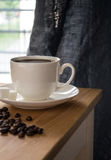 Cup of coffee. Morning coffee by the window stock photos