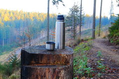 Cup of coffee. Cup of coffee during mountain hike on the cut-off trunk. Beskid Śląski Poland Royalty Free Stock Photos