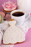 Cup of coffee, muffin and bisquit Stock Image