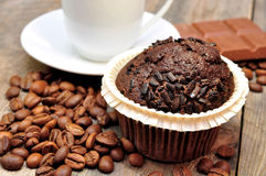 Cup of coffee with muffin Stock Photo