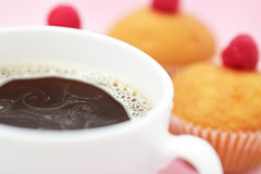 Cup of Coffee and muffins. On a light background Stock Photography