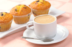 Cup of coffee and muffins Stock Image