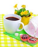 Cup of coffee with murshmellow, chocolate sweets, yellow wildflo Stock Photo