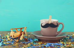 Cup of coffee with mustache. Father& x27;s day concept Stock Photos