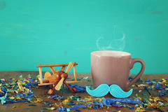 Cup of coffee with mustache. Father& x27;s day concept Stock Photography