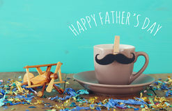 Cup of coffee with mustache. Father& x27;s day concept Royalty Free Stock Photos