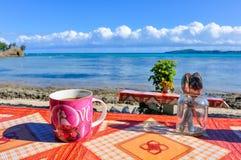 Cup of coffee in Nacula Island in Fiji Royalty Free Stock Photo