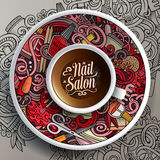 Cup of coffee Nail salon doodles on a saucer, paper and background. Vector illustration with a Cup of coffee and hand drawn Nail salon doodles on a saucer, on Stock Photos