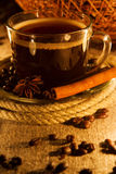 Cup of coffee in natural candle light Royalty Free Stock Photography