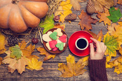 Cup of coffee near cookies Royalty Free Stock Photos