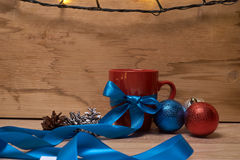 A cup of coffee in the New Year decorations Stock Images