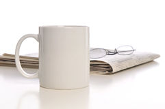 Cup of Coffee, Newpaper and Glasses Stock Photos