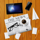 Cup of coffee, newspaper, tablet, smartphone and g Royalty Free Stock Photo