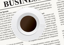 A cup of coffee on the newspaper Stock Image