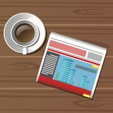 Cup of coffee, newspaper on wooden table. Vector illustration Stock Photography