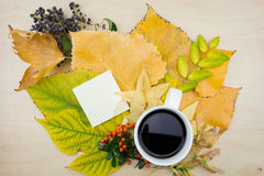 A cup of coffee and note with bouquet of autumn leaves,berries and seeds. Royalty Free Stock Photos